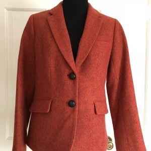 Talbots Orange wool 2 button lined blazer size 4